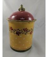 Demdaco Bienvenue Cookie Jar Canister Ceramic 2003 Yellow Red - $39.95