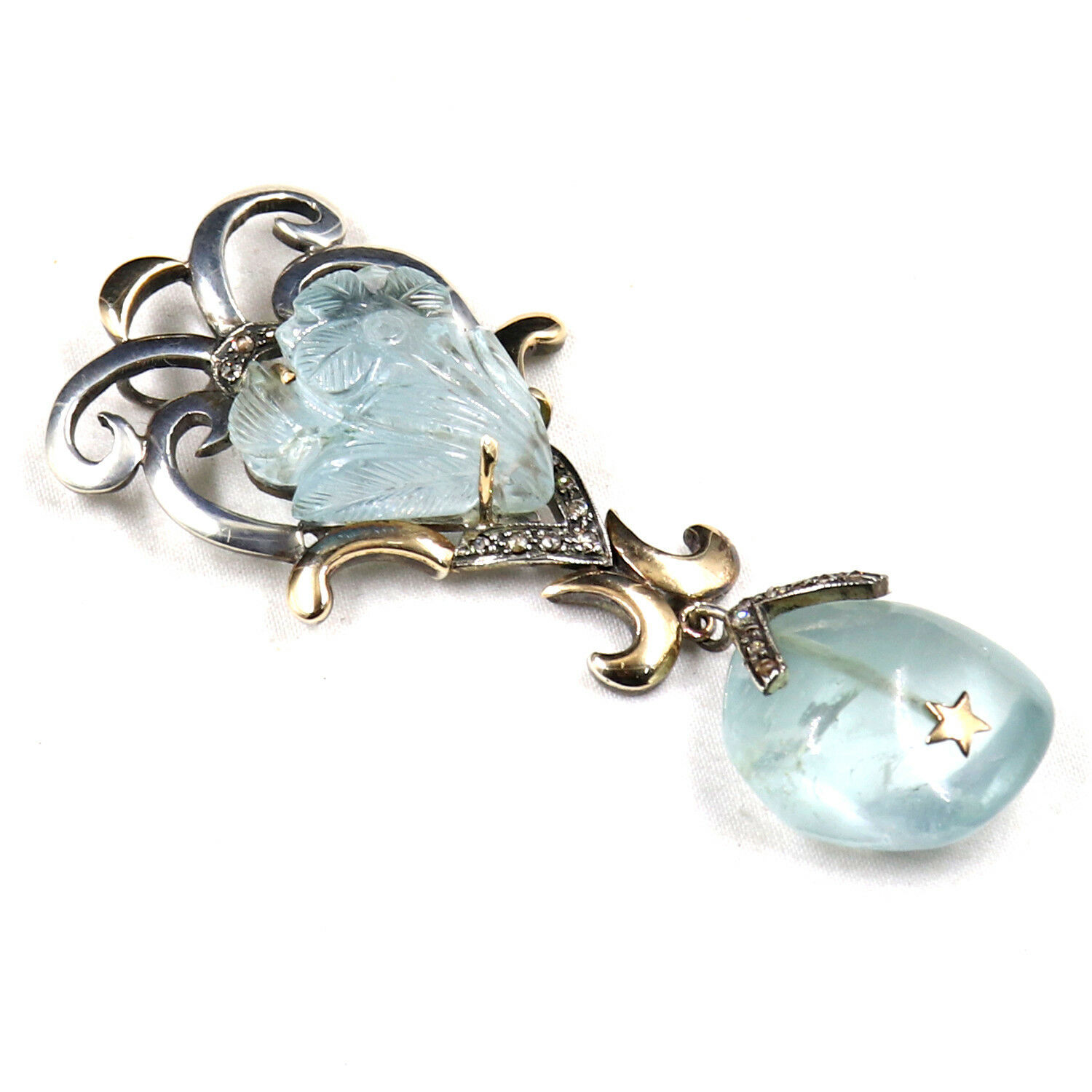 Primary image for NATURAL BLUE AQUAMARINE CARVED DIAMOND 18K GOLD 925 SILVER VICTORIAN PENDANT