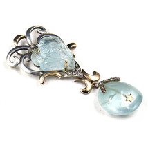 NATURAL BLUE AQUAMARINE CARVED DIAMOND 18K GOLD 925 SILVER VICTORIAN PEN... - $433.20