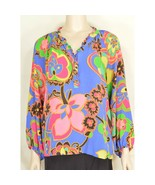 1 Lilly Pulitzer top SZ M colorful 100% silk tropical foliage flowers - $39.59