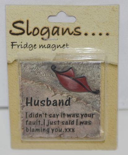 Slogans PDU61 Husband Refrigerator Magnet Color Brown Red Lips