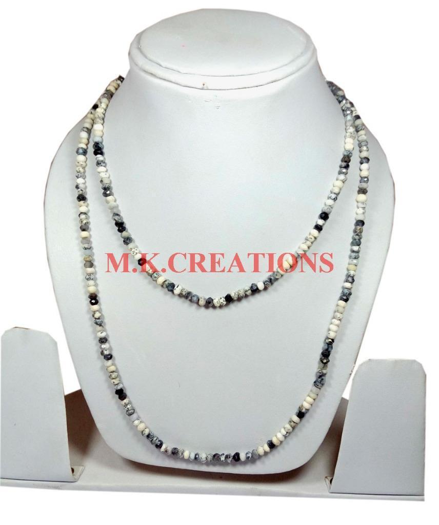 "Primary image for Natural Dendrite Opal 3-4mm Rondelle Faceted Beads 20"" Long Beaded Necklace"