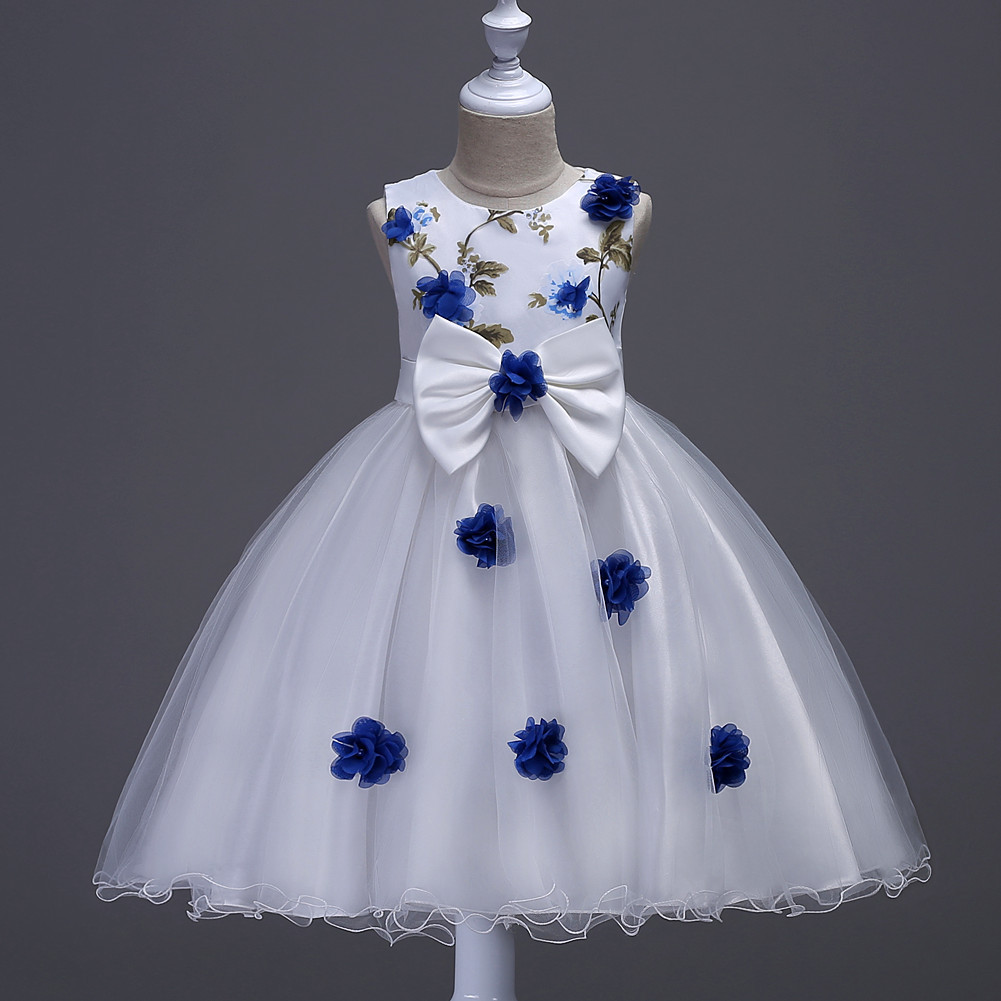 Off Shoulder Blue Flower Girls Dress 2018 Short Wedding Flower Girls Dresses