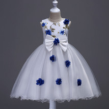 Off Shoulder Blue Flower Girls Dress 2018 Short Wedding Flower Girls Dre... - $36.22