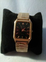 Signet Speidel Gold Tone Working Watch New Battery Stretch Band Rectangl... - $14.24