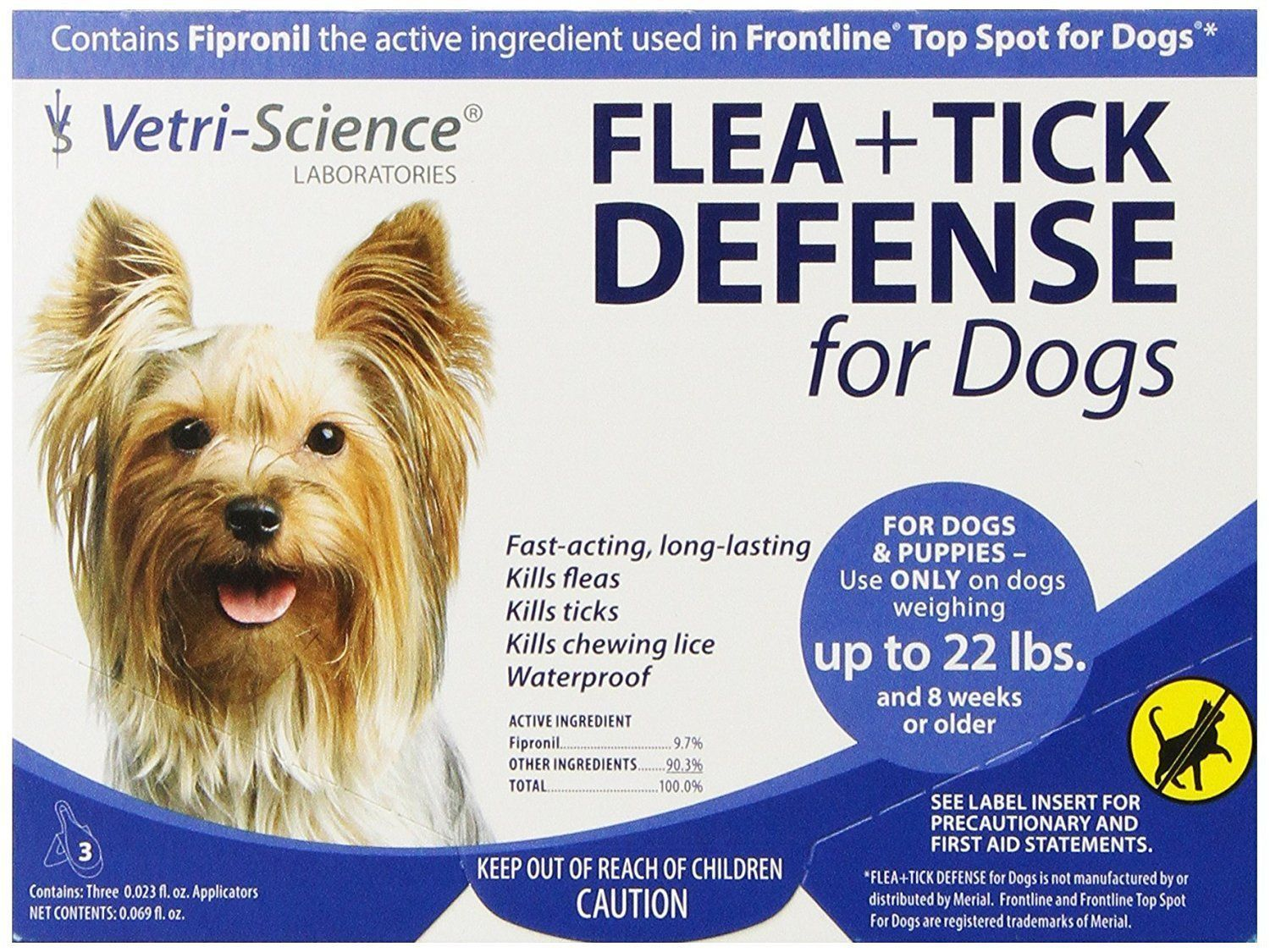 VETRI SCIENCE FLEA +TICK DEFENSE FOR DOGS- FIPRONIL TO 22 LBS 3 DOSES