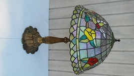 Vintage Tiffany Style Stained Glass Lamp Red Yellow Floral & Luster  - $175.00