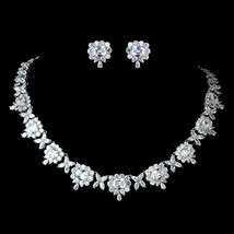 Rhodium Princess Cut, Teardrop CZ Crystal Necklace Bridal Wedding Jewelr... - $194.70