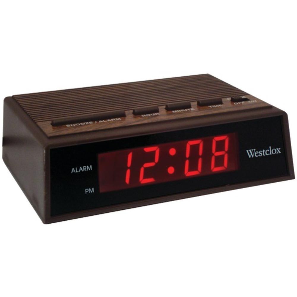 Westclox 22690 .6 Retro Wood Grain LED Alarm Clock