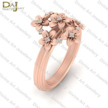 Rose Gold Flower Engagement Ring For Womens Floral Art Nouveau Wedding J... - £66.50 GBP+