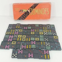 Vintage Greyhound Brand Dominoes Games 55 Pieces leaping dog - $24.75