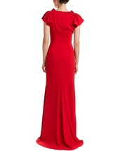 Badgley Mischka Women's Red Pleated Cap Sleeve Gown image 2