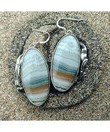 Sterling silver earrings blue banded agate, Art Nouveau earring, unique ... - $125.00