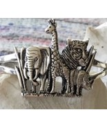 Sterling Silver Safari Animal Zebra Elephant Cuff Wide Bracelet - $143.55