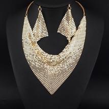 UKEN Chokers Set bijoux Metal Slice Maxi Necklace And Earrings Women Par... - $21.43