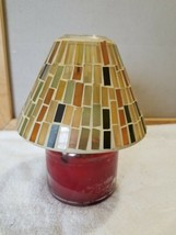 Stained Glass Mosaic Large Candle Jar Topper Green Gold Yellow Black Tan - $14.99