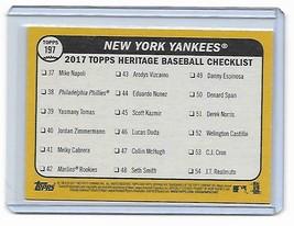 2017 Topps Heritage Aaron Judge RC Rookie New York Yankees Team Card #197 image 2