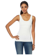 Rhonda Shear 586034 Shaping Tank with Shelf Bra in White, Size 1X - $16.82