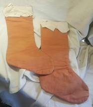 Vintage Handmade Felt Christmas Stockings Lot of 2 Light Brown - $22.27