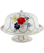 """MOLLY HATCH FLOWER PATCH 15"""" CAKE STAND WITH DOME BY HOME ESSENTIALS - $129.64"""