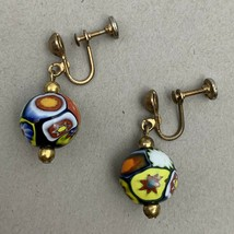 Vintage Millefiori Drop Dangle Screwback Earrings Multicolor Bead Gold Tone - $19.75