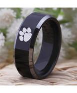 Clemson Tigers  NCAA Football Team Logo Tungsten Carbide Comfort Fit Ring Black - $38.99