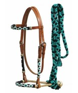 Western Horse Rawhide Core Beaded Bosal Hackamore Headstall w/ Teal Meca... - $69.10