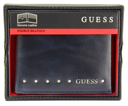 NEW GUESS MEN'S LEATHER CREDIT CARD ID WALLET PASSCASE BIFOLD NAVY 0462/03