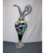 Vintage Ornamental Pewter Porcelain Hand Painted Pansy Ewer Bottle  Urn ... - $158.39