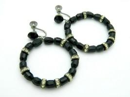 Black Glass Crystal Clear Rhinestone Dangle Circle Silver Tone Vintage Earrings - $19.79
