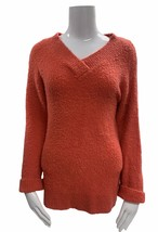 Anthropologie V Neck Fuzzy Soft Sweater Pullover Size XS Coral - $27.59