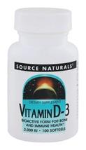 Source Naturals Vitamin D3 2000 IU 100 Softgels Bioactive Form - $13.60