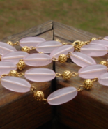 Vintage Trifari Pink and Gold Bead Runway Necklace - $45.00