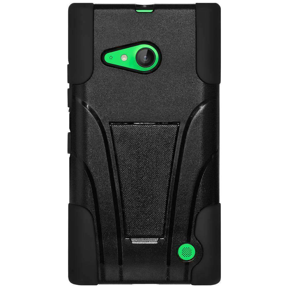 Amzer® Double Layer Hybrid Case with Kickstand - Black/ Black 97606