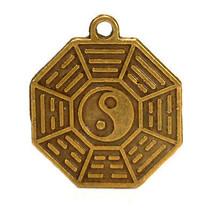 Yang Yin Feng Shui Charm 1.9cm Latón Colgante Bagua Protección Good Luck... - $4.88