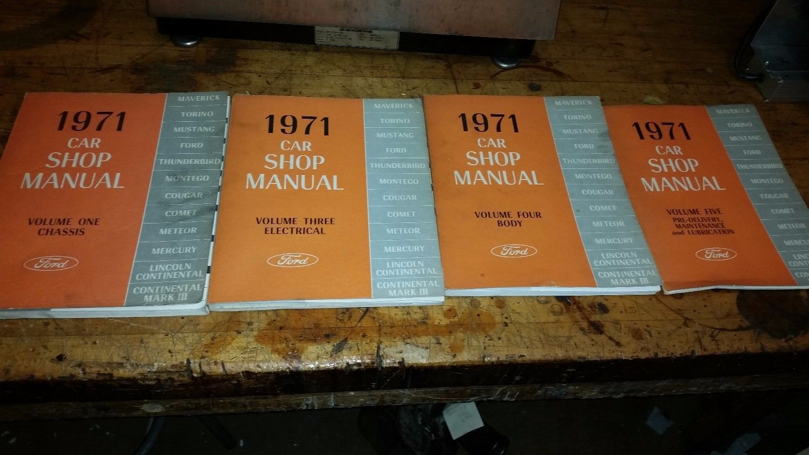 Ford Car Shop Manual 1971 Vol. 1 3 4 5 Lot of 4 electrical chassis Body Maint