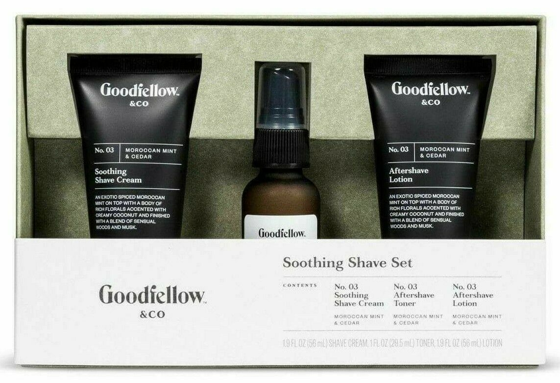 New Good Fellow & Co Soothing Shave Cream Toner Lotion Set Moroccan Mint Cedar