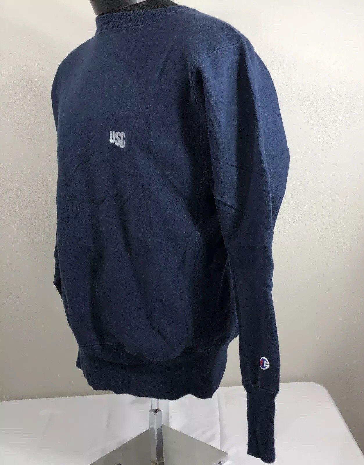 VTG Champion Reverse Weave Sweatshirt Warm Up Jumper Crew Neck Navy Blue 90s