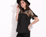 through mesh patchwork short sleeve blouse fashion summer floral embroidery shirt thumb155 crop