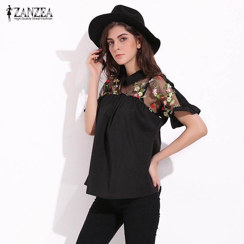 Egant sexy see through mesh patchwork short sleeve blouse fashion summer floral embroidery shirt
