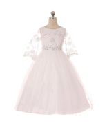 3/4 Sleeve Sequins Embroidery Bodice White Girl Dress with Rhinestones Belt - $56.00+