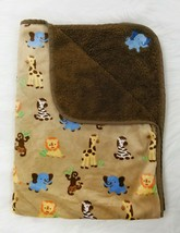 Baby Starters Blanket Brown Tan Elephant Lion Monkey Zebra Giraffe Jungle B60 - $49.99