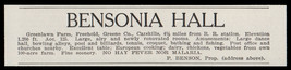 Freehold Catskills 1915 Bensonia Hall Greene Co NY No Malaria Hotel Prin... - $10.99