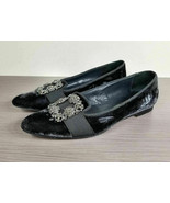 Manolo Blahnik Velvet Marria Slippers, Black, Womens Size 7.5 US / 37.5 - $335.99