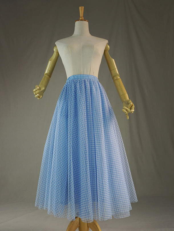 Tulle skirt blue plaid 5