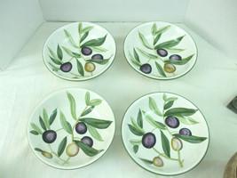 "Pier 1 Earthenware Sorrento 4 Bowls Green Purple Olives Leaves 8.5"" Sala... - $39.55"