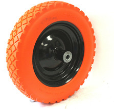 "14"" Flat Free Wheel Barrow Wheelbarrow Tire Solid Foam 5/8 Axle For Cart... - $29.69"