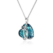 Designer Made With Ocean Blue Swarovski Crystal Heart Necklace Pendant J... - $58.80