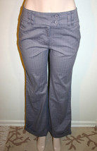 TALBOTS Size 6 Gray Striped Cuffed Stretch Cotton Career Dress Pants Tro... - $11.97