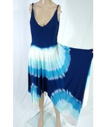 Ocean Drive Blue White Aqua Tie Dye Ombre Asymmetric Festival Slip Sundr... - $14.03